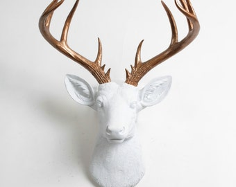 Deer Head Wall Mount Decor  - The XL Lydia - White and Bronze Deer Decor Wall Hanging - Fake Animal Head by White Faux Taxidermy Stag Mounts