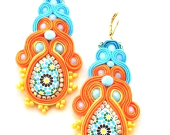orange and turquoise long dangle drop statement soutache earrings with Spanish azulejos tile replica for women anniversary gift idea - CAPRI