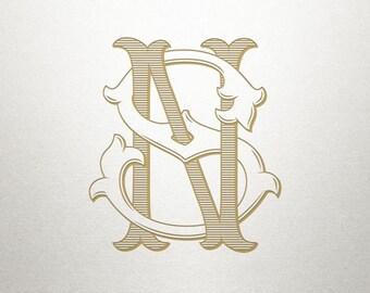 Custom Monogram Design - NS SN - Custom Monogram - Vintage