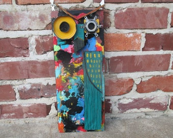 fun mixed media assemblage owl art piece, unique owl, colorful owl, folk art owl, original owl art, found objects owl, one of a kind owl