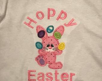 Girls Easter shirt, Girl Hoppy Easter t shirt, Girl Pink Bunny t shirt, Easter egg hunt shirt, Easter Pink shirt, Easter Bunny
