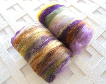 PURPLE IRIS Soft Art Batts to Spin, Felting Batts, Squishy Art Batts, Merino Batt, Bamboo, Muga Silk, Spinning Batts, Chunky Batts, Weaving