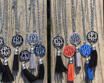 Monogram tassel necklace