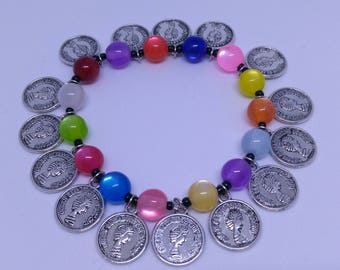 Multicolored bracelet and charms
