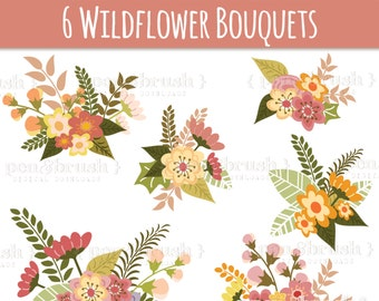 CLIP ART: Flower Bouquet // Wedding Invitations Art  // Flowers Leaves Twigs // Photoshop Brush Stamp // Vector Editable // Save the Date