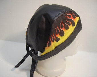 Flaming Fire Leather Head wrap  Bandana Durag