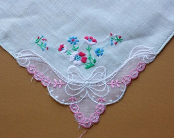 Vintage Handkerchief with Floral Applique and Embroidery Embellishments