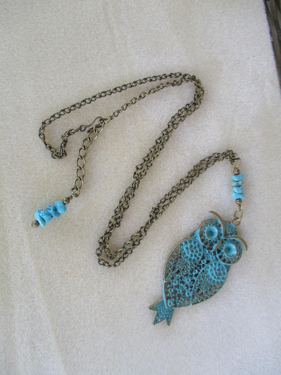Turquoise and Antique Brass With Patina Owl Necklace N919171