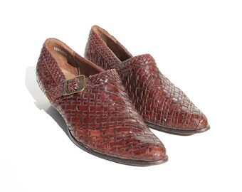 Vintage Dark Brown Woven Leather Shoes / size 6M