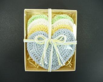 BABY WASHCLOTHS 100% Cotton Hearts Heart Shaped Baby Shower Gift Set Girl Boy Gender Neutral Crochet Valentines Day