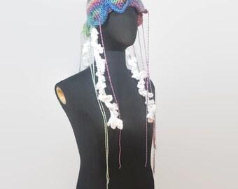 Pink Rainbow Crochet Jellyfish Hat: Jellyfish Tentacle Stuffed Jellyfish Fantasy Sea Creatures Under the Sea Aquarium Hat Crochet Animal Hat