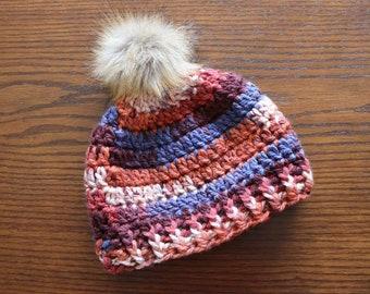 Women's Crochet Beanie With Faux Fur Pom, Winter Beanie, Beanie With Pom, Winter Hat With Fur Pom, Neutral Color Beanie, Orange, Tan, Blue