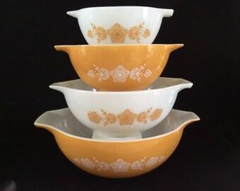 Pyrex Vintage Butterfly Gold Pyrex Cinderella Set