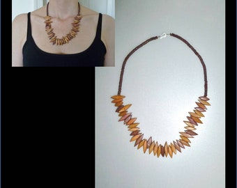 Unique beautiful wood beads necklace