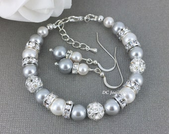 Gray and White Pearl Bracelet Swarovski Bracelet and Earrings Bridesmaid Gift Bridesmaid Jewelry Gray and White Wedding Pearl Jewelry