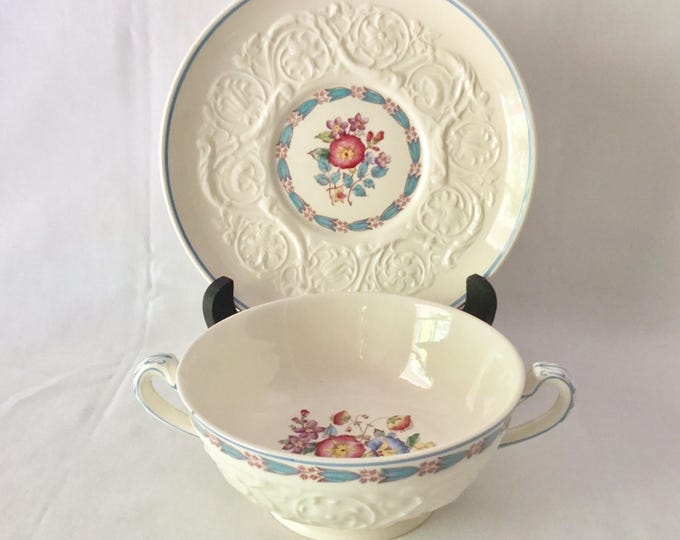 Priority Shipping International For Wedgwood Patrician Morning Glory Double Handle Cream Soup Bowl With Saucer Blue Rim