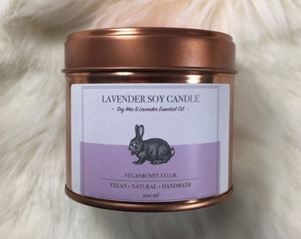 Candle with Lavender essential oil - Natural, Cruelty Free and Soy Candle - Essential Oil Candle - Bio P&P - Mother's Day gift