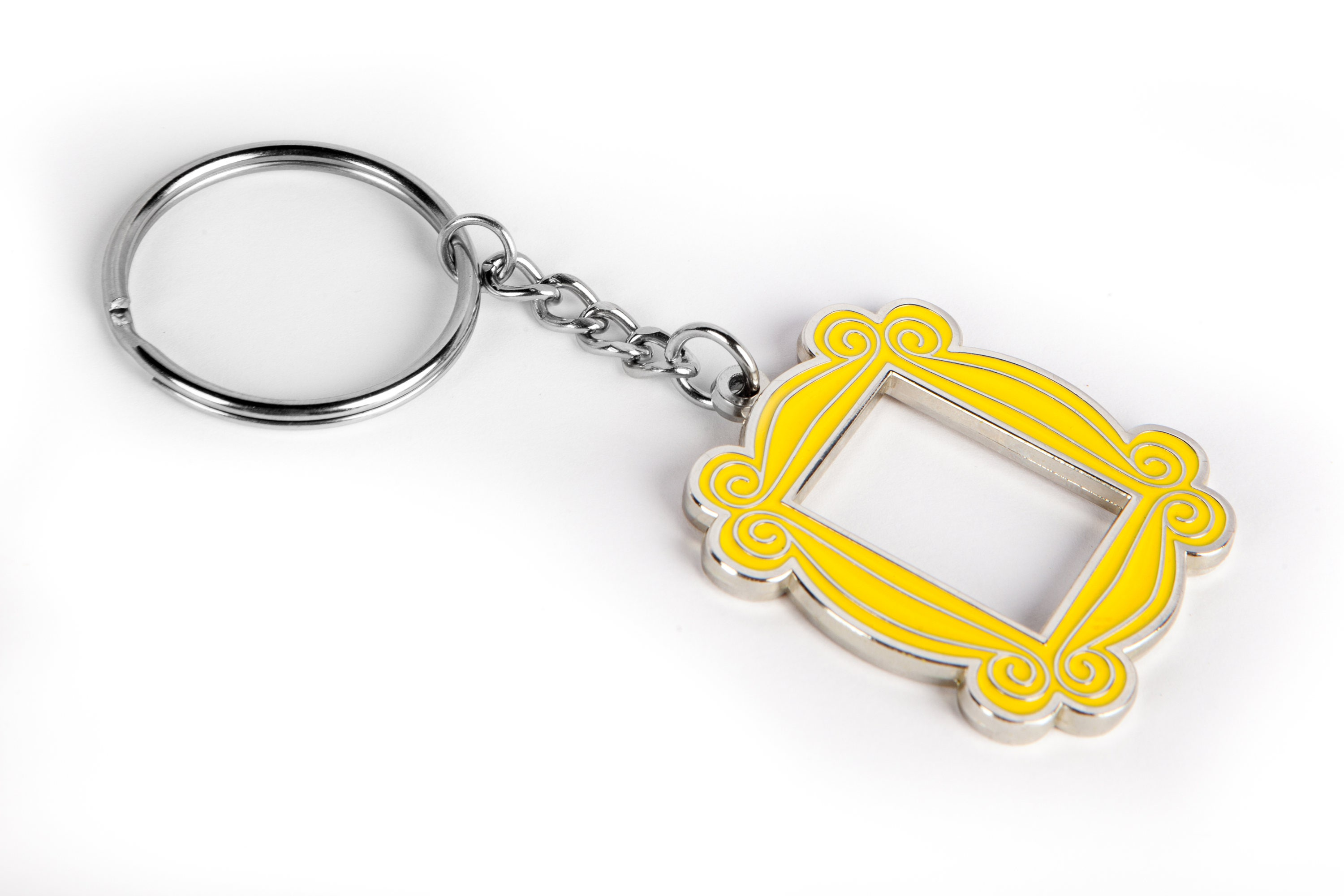 Polished Nickel Yellow Peephole Frame Keychain Inspired by