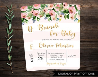 Girl Baby Shower Invitation, Baby Shower Invitation, Floral Baby Shower Invitation, Printable Invitation