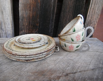 Vintage Collection of Ohio Art Floral Tin Dishes - Cups and Plates - Playset