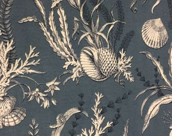 Indoor Outdoor gray blue sea shell fabric Free shipping