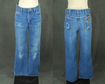 vintage 80s Wrangler Jeans - 1980s Faded Broken In Boyfriend Jeans - High Waist Bootcut Jeans Sz 30 31