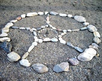 Lake Mandala, Medicine Wheel, Happy Birthday: Circle of Life, Sacred Art, Lake Rocks, Beach art, Photograph or Greeting card