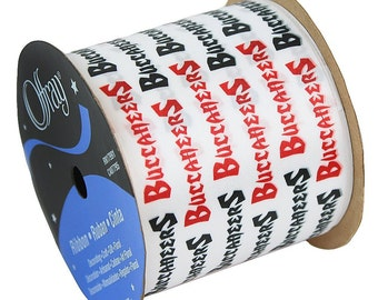 """2-1/2"""" NFL Tampa Bay Buccaneers Ribbon, 9 foot spool, Licensed NFL Offray Ribbon"""