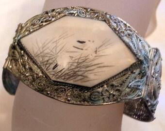 "Vintage Chinese Export Bracelet - Antique Silver Bracelet - Carved Chinese Bracelet - Wide Silver Cuff Bracelet - 2"" Tall - 6 Or 6.5 Wrist"
