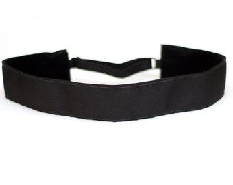 Adjustable Non-Slip Headband - Extra Wide Solid Black
