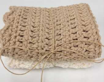 Handmade Crocheted Cream and Beige Dishcloths