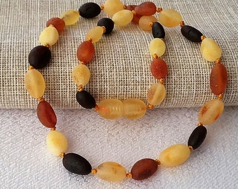 Raw amber necklace, Baltic amber, Unpolished Baltic Amber teething necklace for your baby handmade knotted. High quality amber.