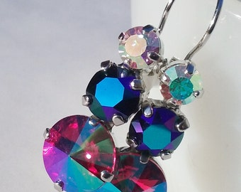 3 stone rhinstone leverback earrings / Swarovski crystal / glacier blue / aurora borealis / AB / gift for her / hot pink / girlfriend gift