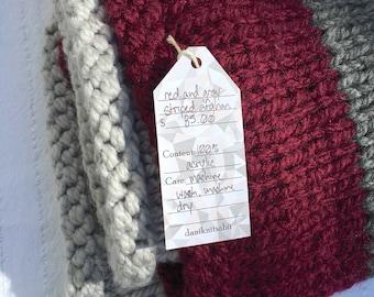 Cozy Hand-Knit Stripes Blanket