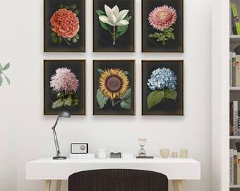 BOTANICAL print SET of 6 art prints, Botanical Set, botanical poster, instant collection, flower poster, flowers print set, red poppy