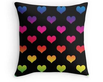 Rainbow Heart Pillow, Rainbow Pillow Cover, Heart Pillow, Rainbow Heart Pillow, Rainbow Nursery, Rainbow Heart Bedding, Rainbow Throw Pillow
