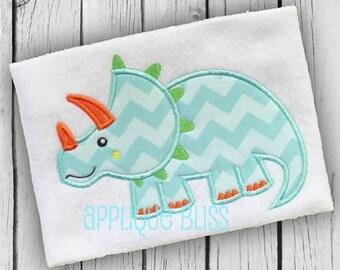 Triceratops Applique Design - Animals - Dinosaur - Tyrannosaurus Rex - Boy - Monogram - Machine Embroidery