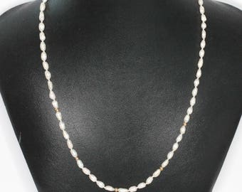 Freshwater Rice Pearl and 14K Gold Bead Necklace 18 Inches Vintage