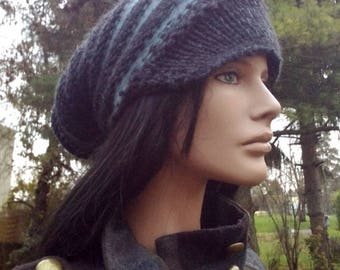 "Beautiful chenille Hat wool soft ""MIST"""