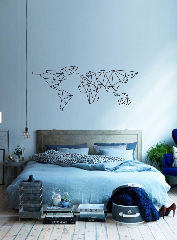 Science Art Geometric World Map Vinyl Wall Decal Sticker - Custom vinyl wall decals for classrooms