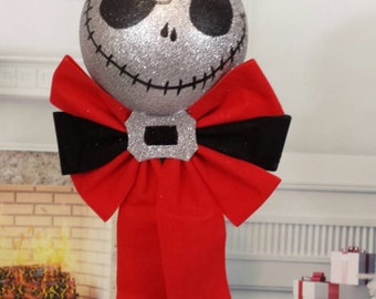 Nightmare before Christmas tree topper, Jack glitter head  tree topper,Christmas ornament, nightmare before Christmas decoration