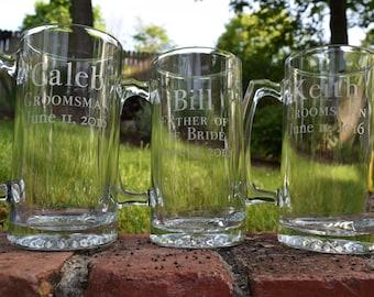 Etched Groomsmen Gift, Etched Beer Mug, Beer Mugs, Wedding Party Gifts, Etched Glasses, Beer Mug, Groomsmen Gifts, Bridal Party Gifts