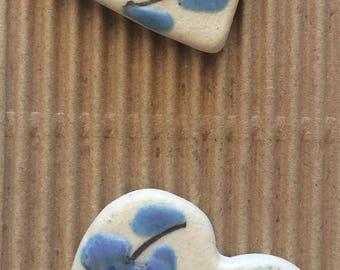 2 Large Blue Flower Heart Buttons, ButtonMad, Incomparable Buttons, Fully Washable Button, Heart Button, Fashion Buttons, Blue Button, L493