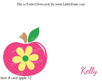 Apple Note Cards Set of 10 personalized flat or folded cards