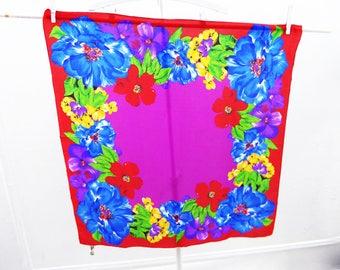 Vintage Scarf Silk Designer Liz Claiborne Floral Red Blue Purple Yellow 30 x 31