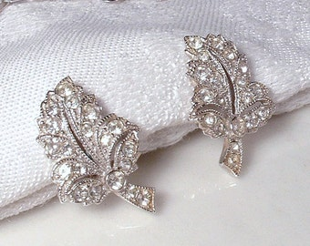 Vintage ORA Art Deco Rhinestone Leaf Earrings Lacy Silver Pave Crystal Bridal Earrings,Screw Back/On 1940 Wedding Designer Jewelry Screwback