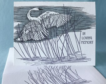 Reed Sympathy and Blank Note Card with Trumpeter Swan