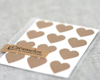 Kraft Heart Stickers 108