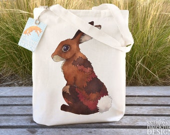 Bunny Rabbit Tote Bag, Ethically Produced Shopping Bag, Reusable Shopper Bag, Cotton Tote, Shopping Bag, Eco Tote Bag, Stocking Filler