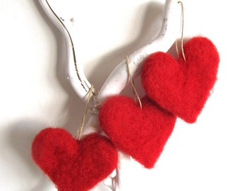 3 felt heart ornaments - red felted hearts - wool felt Valentine decorations